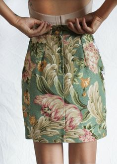 1990s Floral MINI SKIRT High Waisted Extra by LoveologyVintage