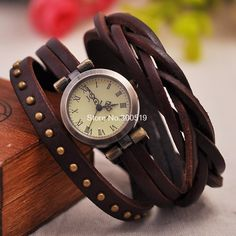 6fe1aee30bb JW325 Retro Rivet Trançado Couro Strap Mulheres de pulso Pulseira Vestido  Vintage Watches Relógio de pulso