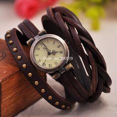 JW325 Retro Rivet Trançado Couro Strap Mulheres de pulso Pulseira Vestido Vintage Watches Relógio de pulso-in de Relógios los Aliexpress.com