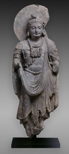 Bodhisattva, Kushan period, ca. 2nd-3rd C.  Carved Phyllite, almost 5 ft. tall. ancient Pakistan.