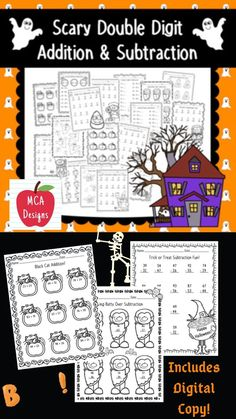 This product features various worksheets and activities to help your students practice double digit addition with regrouping. This packet is designed to be used as mini-lessons, supplements to larger lesson plans, extra practice, or as a math center. Each worksheet is accented with charming Halloween graphics! This product includes both a PRINT and DIGITAL copy. The digital copy is great for DISTANCE LEARNING! #teacherspayteachers #distancelearningtpt #distancelearning #halloween #tpt