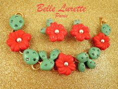 CACTUS  Bracelet and Clip Earrings SET with by BelleLuretteParis