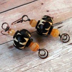Vintage Batik Bead Earrings  by Terrie Marcoe