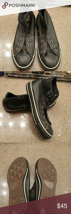 *OBO*Leather Black and cream hi top converse Worn a  few times really cute and good condition.  Really cute  with anything u wear. Need laces Converse Shoes Sneakers