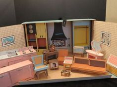 Ideal Vintage Cardboard Dollhouse 1963 with Furniture | eBay