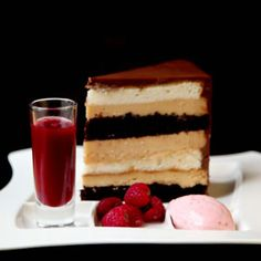 Heaven and Hell cake -- a  rich combination of angel food cake, peanut butter mousse and devil's food cake. The most unbelievably delicious cake I have ever tried.  One day, I will make it myself.