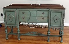 This is the piece that started my interest in working with old, beat up furniture.  From Remodelaholic