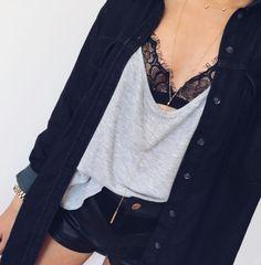 denim + lace + leather