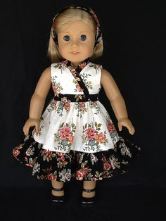 18 inch doll dress and headband.  Fits American by ASewSewShop