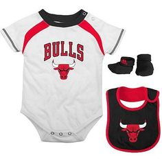adidas Chicago Bulls Infant 3-Piece Creeper, Bib and Bootie Set