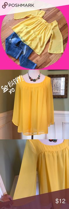 Super Cute Top Beautiful color of yellow. Round neckline, sheer-like sleeves. Super cute on. Priced to sell!! Honey Punch Tops Blouses