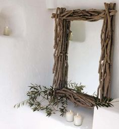 Fjord Naturholz Spiegel - New Sites Driftwood Mirror, Driftwood Crafts, Twig Furniture, Branch Decor, Gifts For Office, Home Crafts, Inspiration, Design, Home Decor