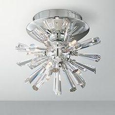 Chrome Crystal Burst Semi-Flush Possini Euro Ceiling Light