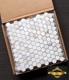 """Calacatta Gold 1x1"""" Hexagon Honed and Polished for $17.95 a Square Foot online from The Builder Depot (and Bonus Free shipping thru 2016)."""