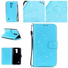 LG G Stylo 2 LS775 Case,RIVRE [Wrist Strap] Inlaid Shiny Diamond [Stand Feature] PU Leather [Butterfly Flower] Flip Wallet Case Cover for LG G Stylo 2 LS775/G Stylus 2 K520 (Blue) -- Awesome products selected by Anna Churchill