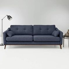 Canapé 2 places fixe MARIE en tissu - Bleu-
