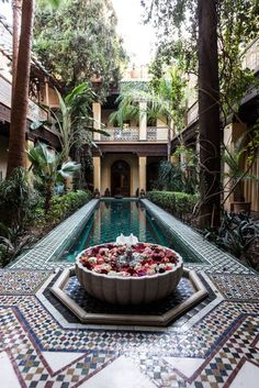 From the court of Riyad Al Moussika in Marrakech Riad Morocco Interior Exterior, Exterior Design, Interior Garden, Riad Marrakech, Marrakesh, Marrakech Travel, Hotels, Boho Home, Islamic Architecture