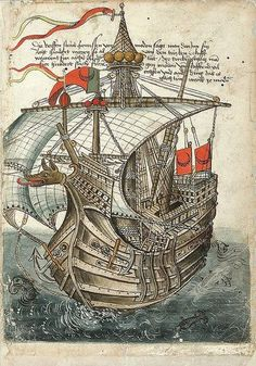 "1486 Turkish Galleon, in ""Description of the Journey from Constance to Jerusalem"" . - kadir coza - - 1486 Turkish Galleon, in ""Description of the Journey from Constance to Jerusalem"" . Medieval World, Medieval Art, Medieval Manuscript, Illuminated Manuscript, Ancient Maps, Jean Fouquet, Ship Figurehead, Ship Art, Cartography"