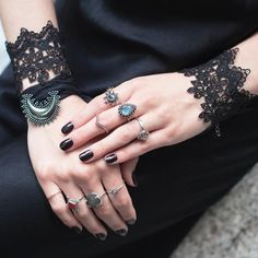 ✧♆✧ Black Widow Lace ✧♆✧ Shop ⇢⇢ www.shopdixi.com // shop dixi // boho // bohemian // gothic // grunge // witchy // witchy // boho jewels // boho chic  // bohemian jewellery // bohemian jewelry // silver rings // sterling silver // gypsy jewels // rings // stacking rings // moon child // dark // mystic