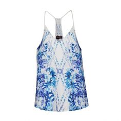 Ally Fashion Reflective blue floral cami top ($19) ❤ liked on Polyvore featuring tops, print, white singlet, blue tank, floral top, white tank and white camisole
