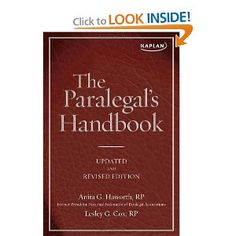 The Paralegal's Handbook. Check out Manor's program: http://www.manor.edu/academics/degrees/paralegal.php