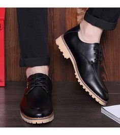 Men's #black casual lace up leather oxford #DressShoes, breathable, metal decoration, sewing thread, Point toe design, casual, office occasions.