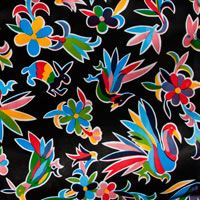 This site has lots of pretty oilcloth patterns + cool Dia De Los Muertos items animales oilcloth in black sample