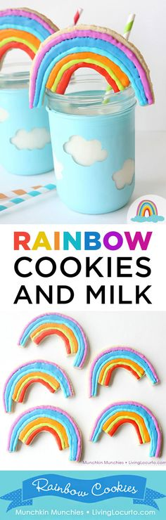 Easy Rainbow Cookies and cloud mason jar craft tutorial. Adorable fun food recipe idea for a rainbow party, birthday or St. Patrick's Day. Pretty sugar cookies! #rainbow #cookies #sugarcookies