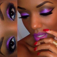 Love make up Purple Eye Makeup, Black Girl Makeup, Smokey Eye Makeup, Girls Makeup, Love Makeup, Skin Makeup, Makeup Tips, Beauty Makeup, Makeup Looks