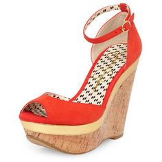 Jessica Simpson Red ankle strap cork wedges - Jessica Simpson - Brands at DP - View All Shoes  - Shoes