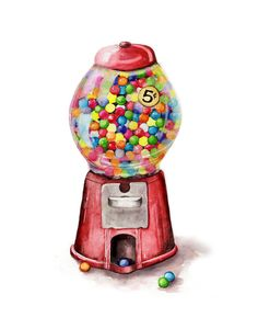 Gumball machine original Watercolor by CarynDahm on Etsy