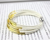 white leather bangle bracelet with gold tube and magnetic clasp from @chipo4u via @etsy