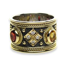 Diamond Tetra Black Gold Band Ring (gold base). More jewelry can be found at www.athenas-treasures.com