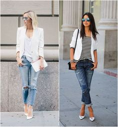 Para Inspirar – Blazer Branco e Jeans Rasgado! Mais To Inspire – White Blazer and Ripped Jeans! Fashion Moda, Look Fashion, Girl Fashion, Fashion Outfits, Womens Fashion, Fashion News, White Blazer Outfits, Casual Outfits, Basic Fashion