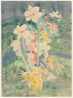 Demuth's home in Lancaster, Pennsylvania, which he shared with his mother, was accompanied by a lavish garden whose colorful displays throughout the seasons inspired most of his flower watercolors.  Here, the tall narcissi that bloom only in the spring must have been painted after his return from Bermuda