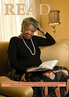 """Z. Smith Reynolds Library  -  Maya Angelou READ poster -- Dr. Maya Angelou, photographed at her home, reading from autobiography """"I Know Why the  Caged Bird Sings"""". On April 12, 2007,"""
