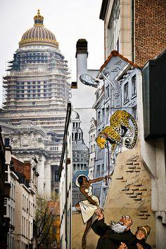 Travel Around Europe, Expo, Art Mural, Brussels, Old Houses, Brooklyn, Street Art, Cartoons, City