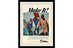 "1966 Catalina Men's Swim Fashion Ad ""Surf"" Vintage Advertisement Print"
