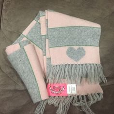 Juicy Couture stripe cashmere scarf Pink & gray 100% cashmere scarf. With fringe and heart. No trades. Yes to bundles. Juicy Couture Accessories Scarves & Wraps