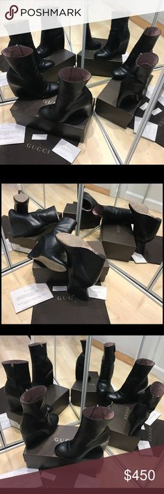 """Gucci S.TTO PELLE Size 37 Gucci S.TTO PELLE Size 37, super comfortable high heel 10"""" wedges with a zipper from inside and Gucci silver logo on the back. Very classy and sexy. Worn a couple of times, comes with the certificate, box and a dust bag. Gucci Shoes Ankle Boots & Booties"""