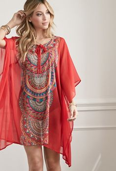 Scarf Print Kaftan Cover-Up | Forever 21 - 2000077175