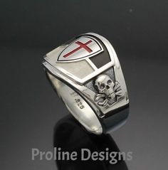 Knights Templar Masonic Ring in Sterling Silver ~ Cigar Band Style 035 Christian Warrior, Cigar Band, Coin Ring, Mens Gear, Viking Jewelry, Knights Templar, Gold Art, Sterling Silver Bracelets, Rings For Men