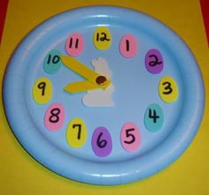 Learning Ideas - Grades K-8: Easter Paper Plate Analog Clock Craft Activity
