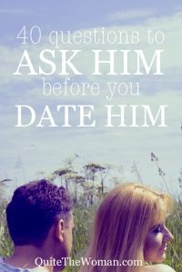 "40 Questions to Ask Him BEFORE You Date Him. I usually think these ""Questions to Ask Him"" lists are kind of obvious and really cheesy, but this one is golden. Check it out and think about it. Questions To Ask, This Or That Questions, Amazing Questions, My Sun And Stars, Look Here, Read Later, To Infinity And Beyond, Lovey Dovey, Hopeless Romantic"