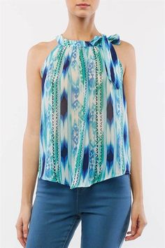 ObsessedToDress.com - Blue/Green Sleeveless Flowy Top with Self Tie Neckline, $16.99