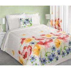 Bily prehoz na postel s motivem kvetu
