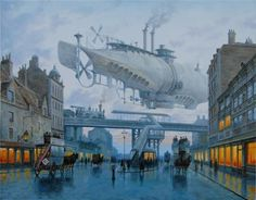 Airship over the city - by Vadim Voitekhovitch.