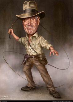 Indiana Jones(Harrison Ford) Caricature, illustrated by Patrick LaMontagne Henry Jones Jr, Harrison Ford Indiana Jones, Funny Caricatures, Celebrity Caricatures, Celebrity Drawings, Cartoon Faces, Funny Faces, Turner Painting, Funny Illustration