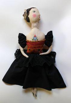 Lady Pavlova fabric art doll soft sculpture folk art by pantovola