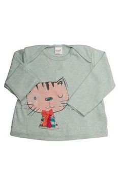#newborn girls' long-sleeved tunic with a sweet cat design from Naartjie Kids SA. 100% cotton excluding trims.